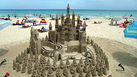 brown sand castle