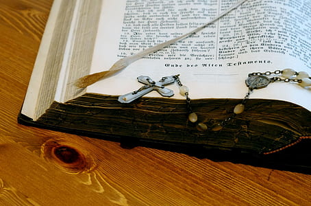 rosary on opened bible
