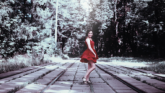 selective color photo of red dress