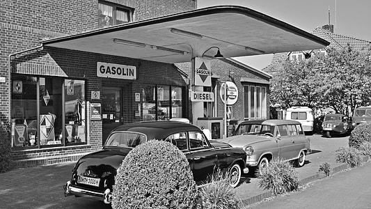 Vintage Gas Station Black White