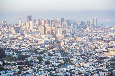 Cityscape View of Financial District Skyscrapers in San Francisco, California