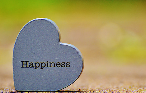 happiness text on gray heart decor