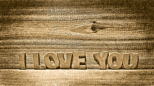 brown wooden i love you free standing letter decor