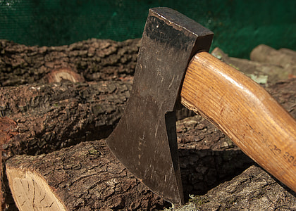 closeup photo of brown and black ax placed on brown wood log