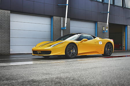 Yellow Ferrari 458 Italia Sports Car