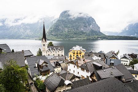Panorama Over the Little Town Hallstatt in Austria