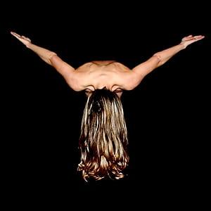 woman naked doing yoga post
