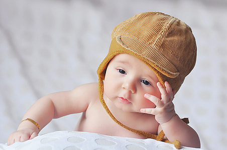 Young baby wearing hat