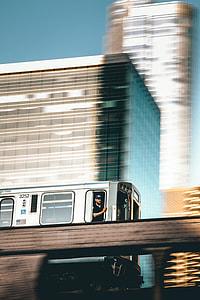 photograph of train on rails