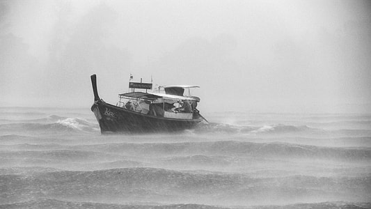 landscape photography of boat during a storm