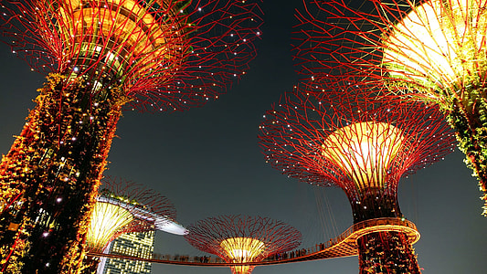 low angle photography of buildings with lights