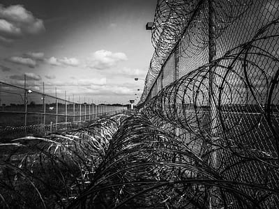 grayscale cyclone wire fence