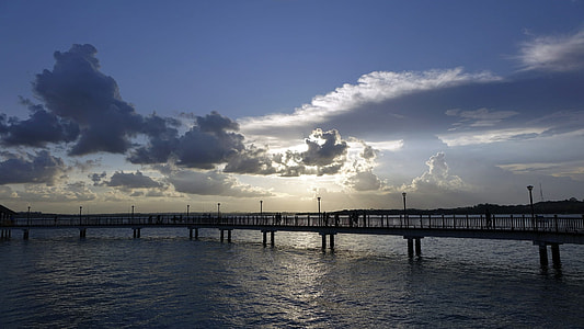 silhouette bridge during sunset photo