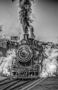 grayscale photo of train
