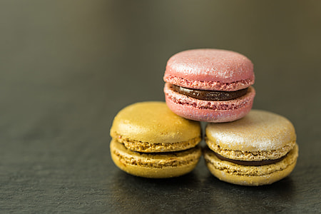 Closeup shot of mini macaroons with a chocolate centre. Image captured with a Canon 6D