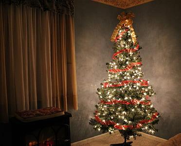 lighted Christmas tree near curtain