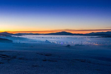 Landscape photo captured during blue hour at sunset