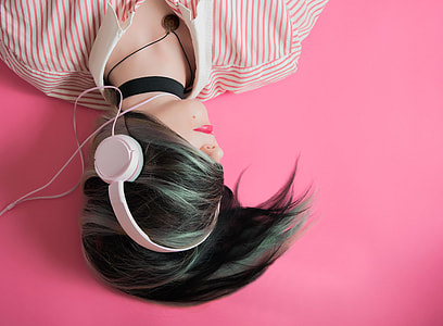 Woman Headphones Pink Background