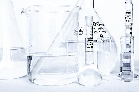 several glass chemist equipments