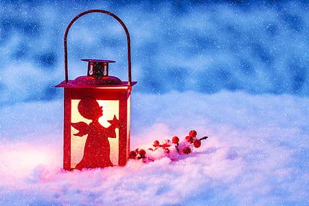 red metal candle lantern