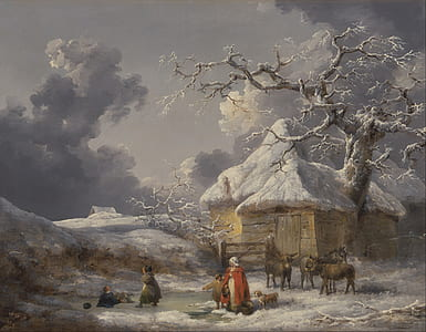 people with animals outside wooden house painting