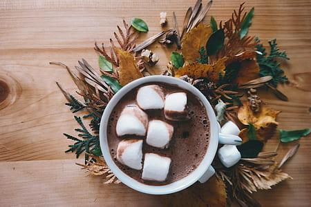 white ceramic mug filled if chocolate and marshmallow