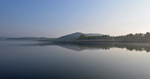 calm body of water with trees during daytime