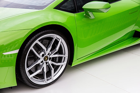 A bright green Lamborghini sports car