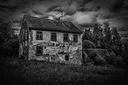 grayscale photo of bungalow