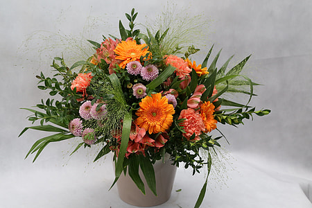 pink and orange petaled flower in white ceramic vase