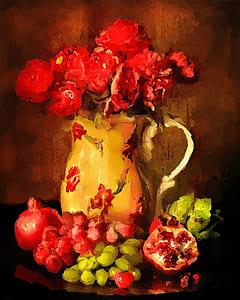 red roses in brown vase painting