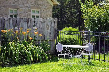 bistro patio set on garden