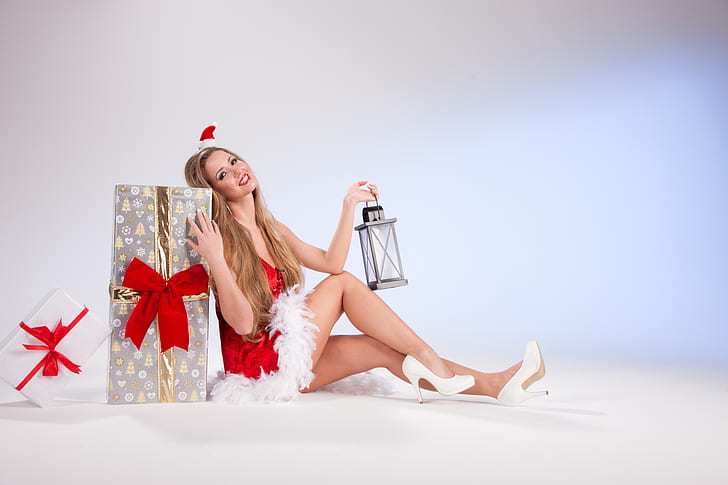 woman leaning gift present