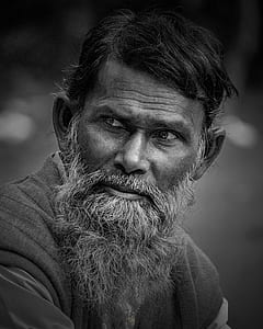 gray scale bearded man photo