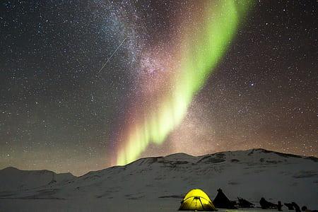 yellow tent on mountain