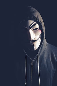 person in Guy Fawkes mask and grey zip-up drawstring hoodie