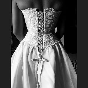 woman wearing white floral tube dress