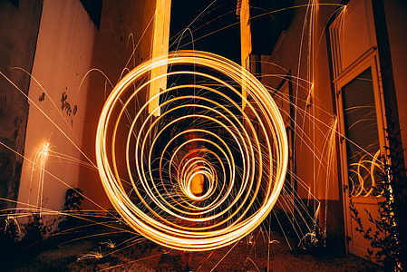 brown Neon light time lapse photography