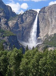 waterfalls on a rocky terrain under blue cloudy skies