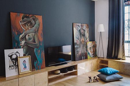 Modern loft apartment full of art