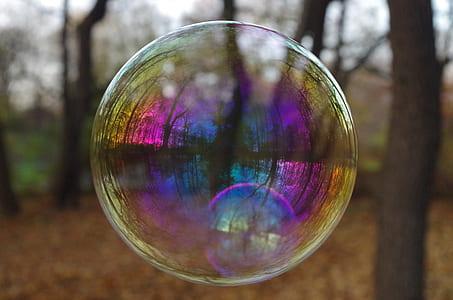 tilt shift view of clear bubble