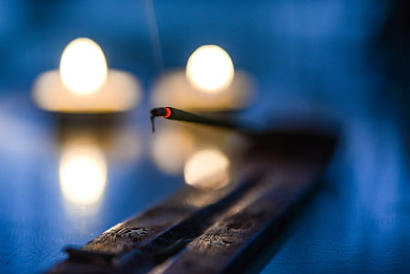 incense, glow, candle, burn, religion, light