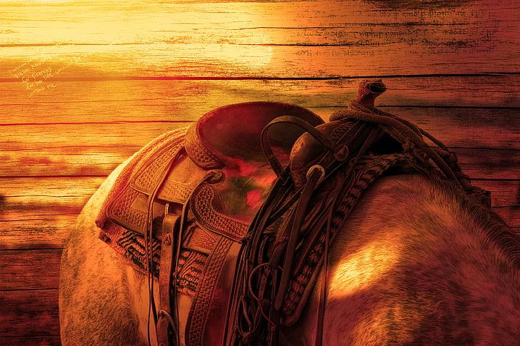 brown leather pet saddle
