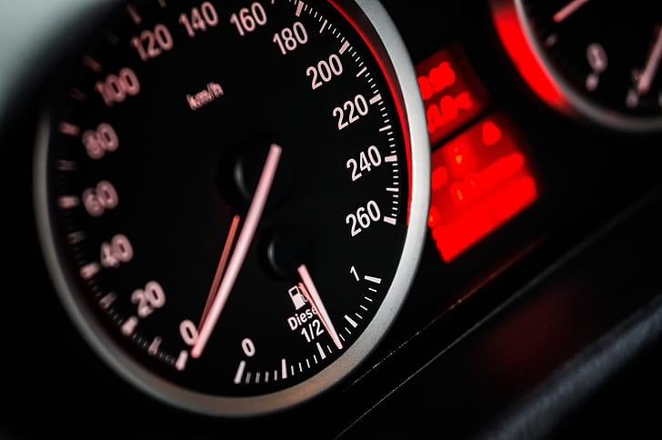 black and red cluster gauge