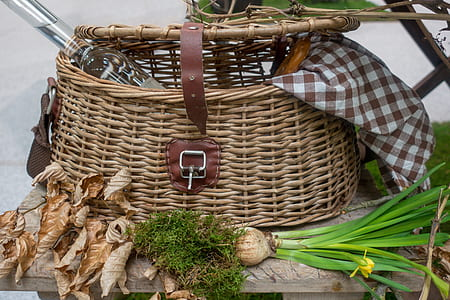 brown picnic basket
