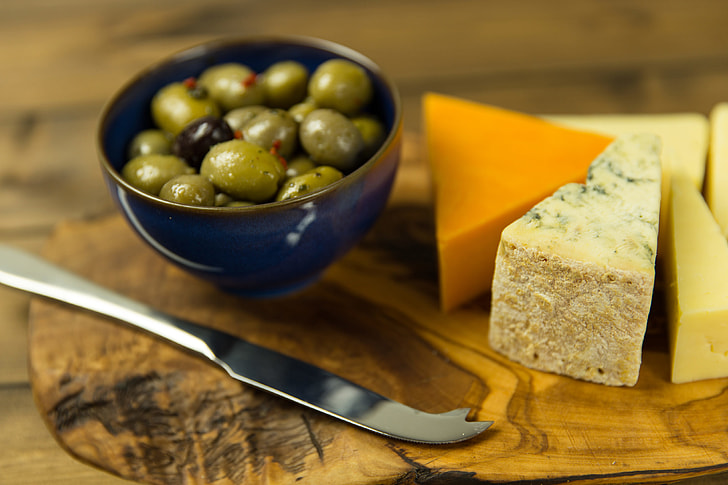 Cheese, olives and biscuits