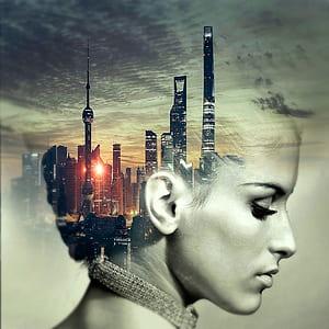 cd cover, head, city, skyscraper, cd, music