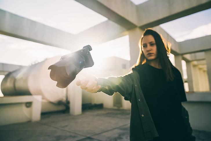 woman, female, camera, structure, concrete, caucasian