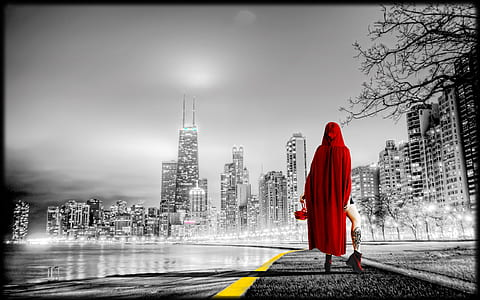 selective photo of person wearing red hood