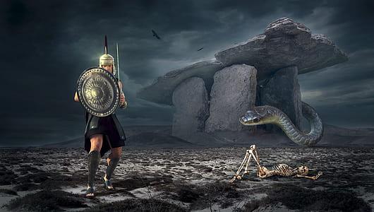 spartan and anaconda digital wallpaper